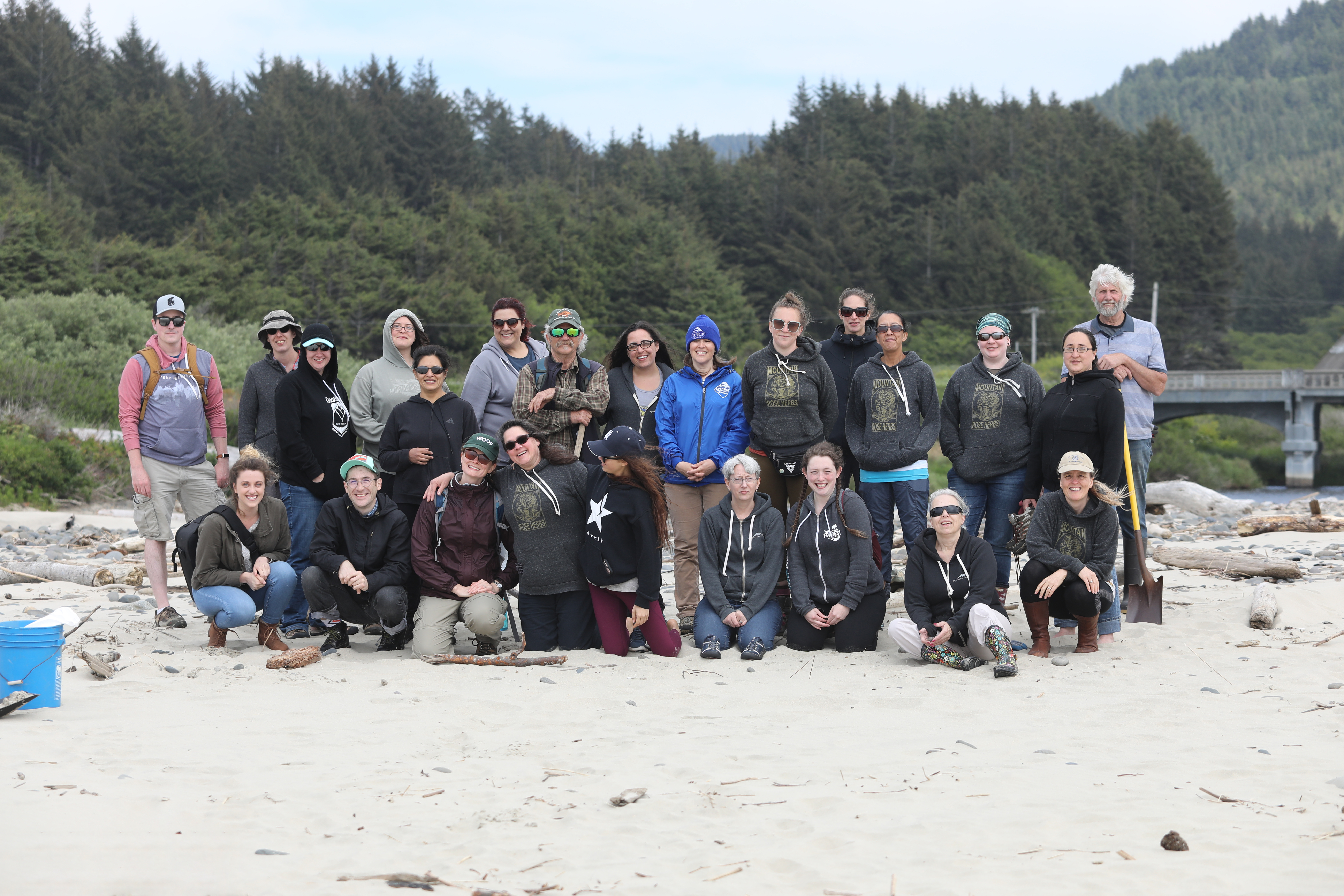 Mountain Rose Herbs Green Team beach cleanup day. Members of the green team pose after a day of cleaning the local beaches in Oregon.