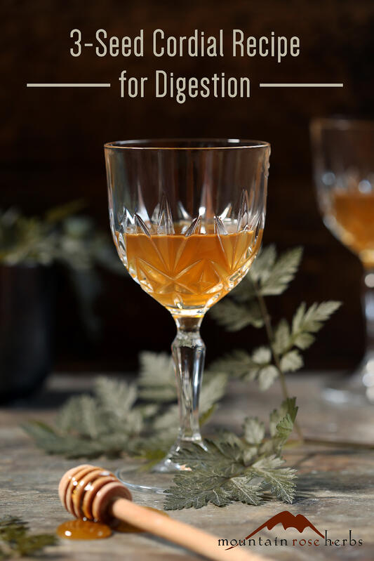 "3-Seed Digestive Cordial Pinterest Pin from Mountain Rose Herbs and Kami McBride's ""The Herbal Kitchen"""