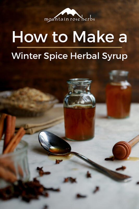 A spice bottle filled with a winter herbal syrup made from organic wellness herbs like echinacea purpurea, cinnamon, fennel, cloves, marshmallow, and ginger. A spoonful of herbal syrup made with licorice root and honey.
