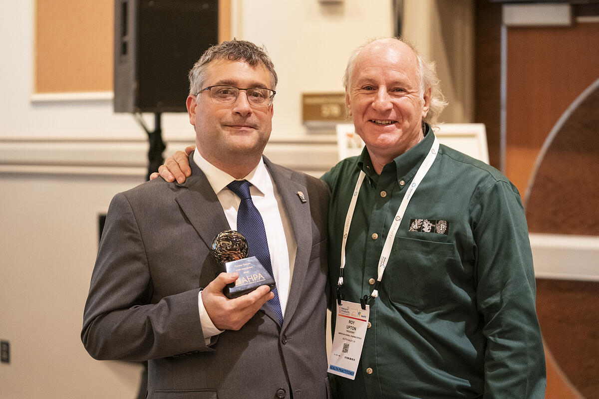 Mountain Rose Herbs Quality Control Director, Steven Yeager, accepts AHPA's 2019 Herbal Hero Award.