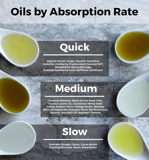 Oil absorption rates by oil type. Which oils absorb best into skin? Quick, medium, and slow absorption rates for skincare oils.