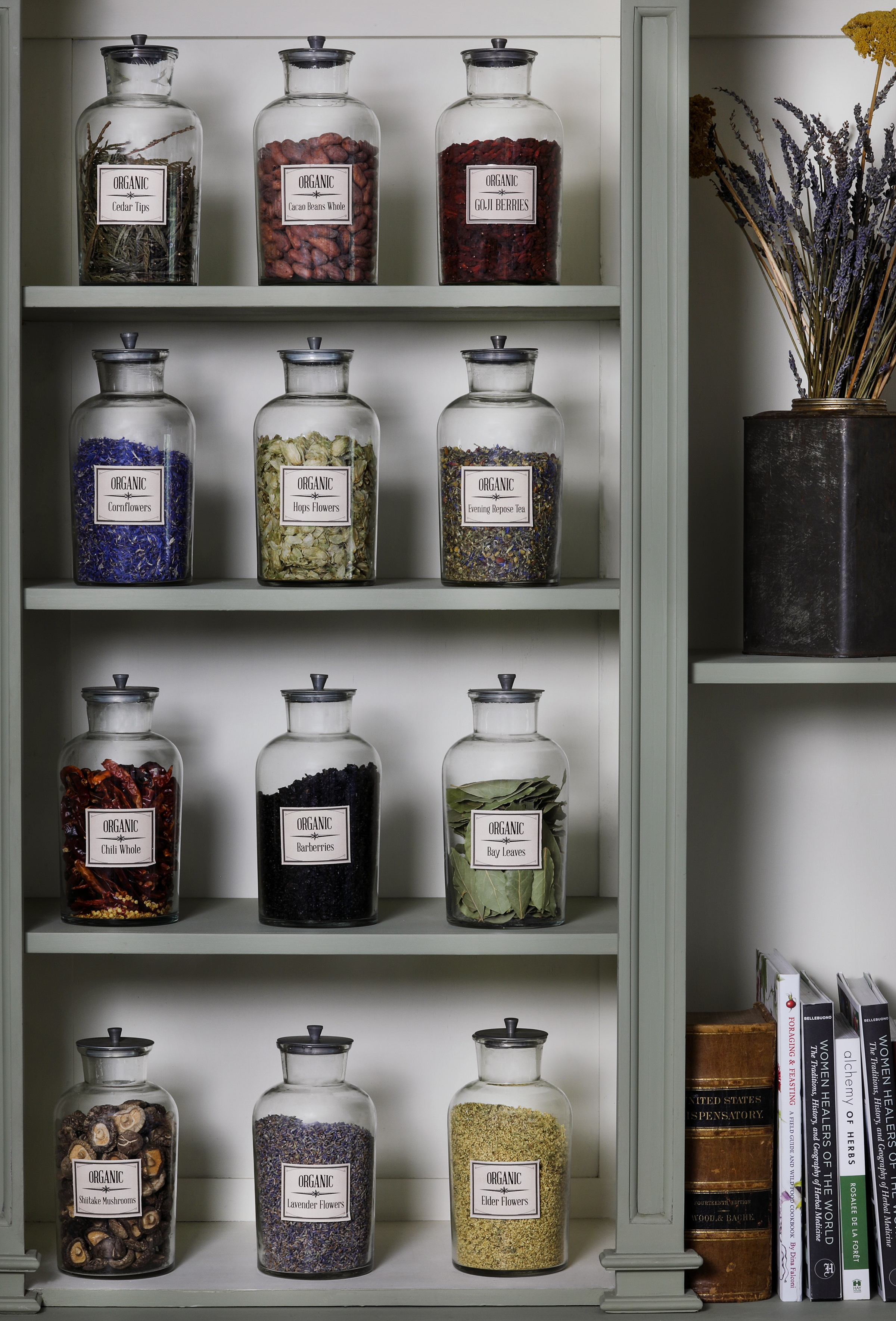 Green book case and shelving with large glass containers of dried herbs out for display