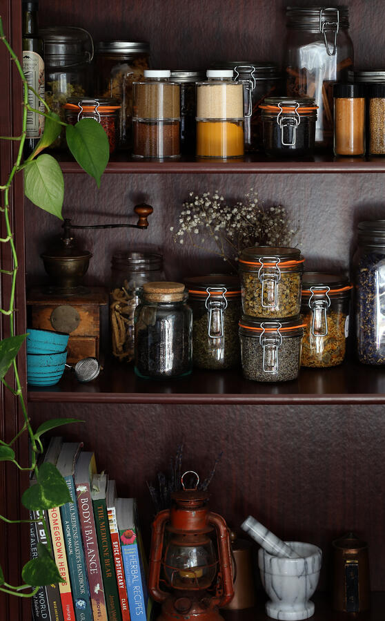 A home herbal apothecary in a bookshelf, with jars of herbs, spices, oils and herbal education books.