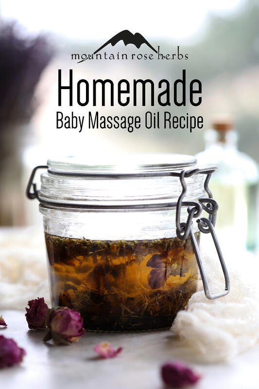 Homemade baby massage oil Pinterest pin from Mountain Rose Herbs.