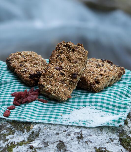 Goji berry energy bars sitting on turquoise checkered table cloth on rock outside