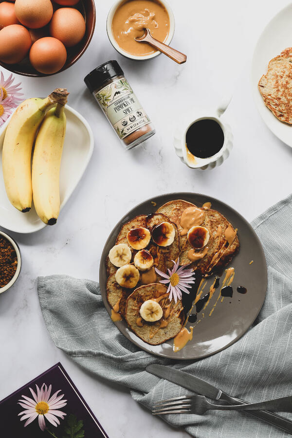 Banana pancakes with chaga maple syrup