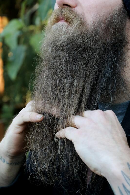 Man's fingers coming through beard in a natural setting.