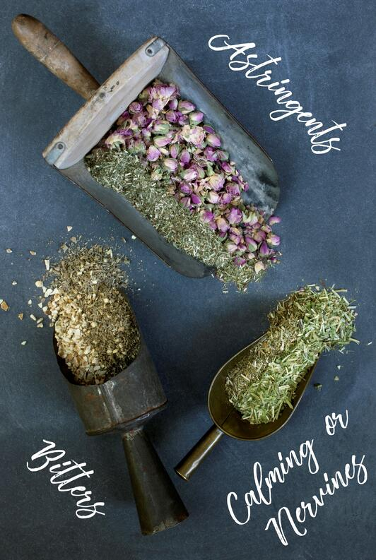 Herbs spilling out of vintage scoops with written herbal actions on chalk board.