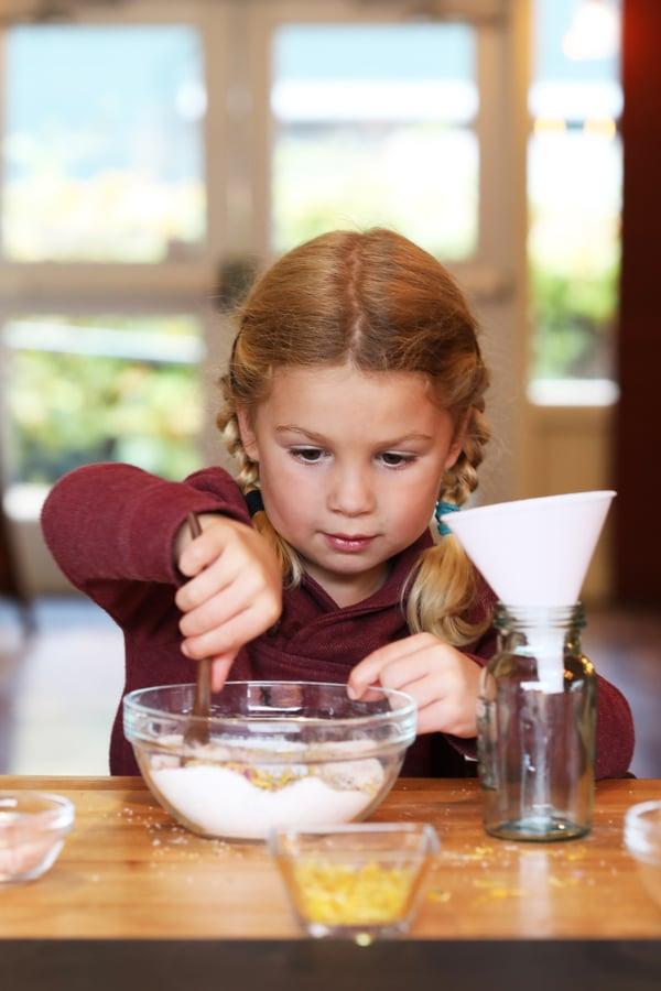 A child making crafts.