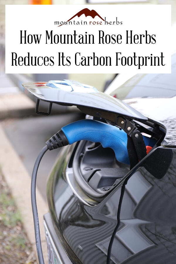 Pinterest link for Mountain Rose Herbs showing an electric car charging station.