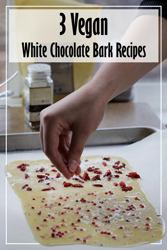 Pin to 3 Vegan White Chocolate Bark Recipes by Mountain Rose Herbs