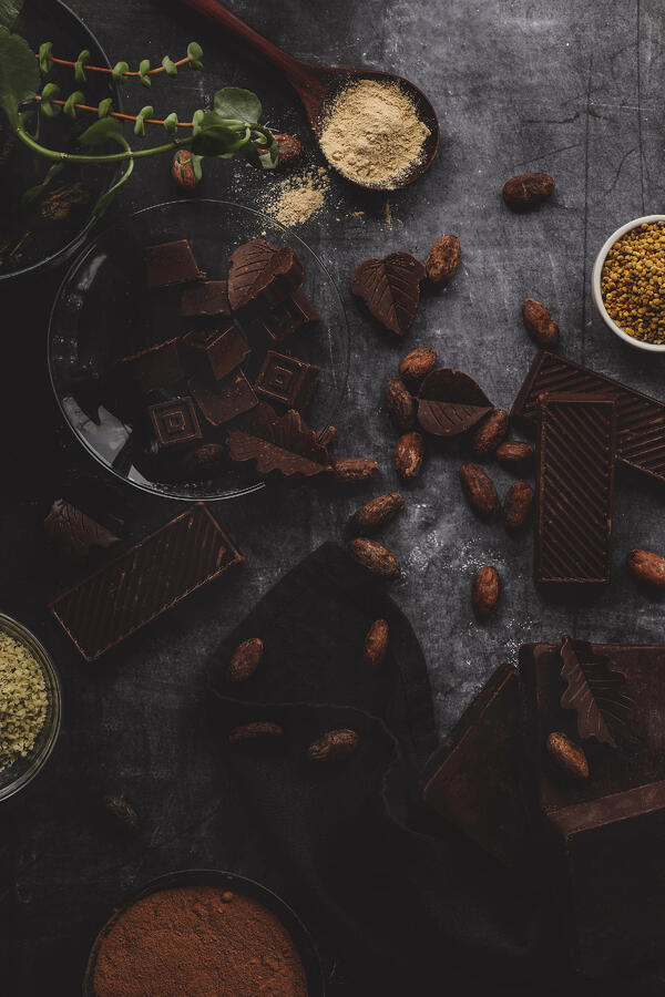 Chocolate with cacao beans and bee pollen