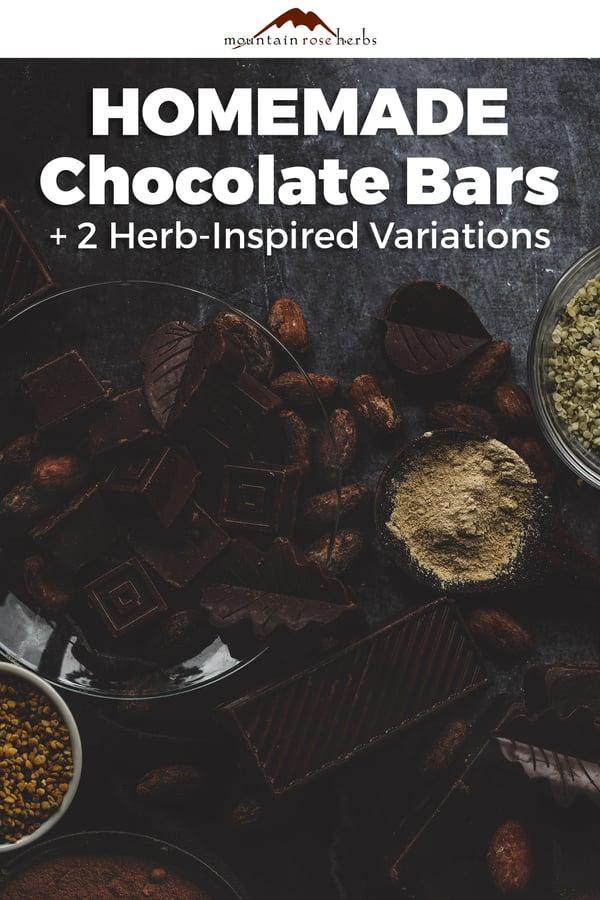 Herbal chocolate bars for Pinterest