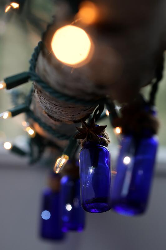 Cobalt Blue glass bottles with twine wrapped around necks handing from tree branch with holiday lights in them.