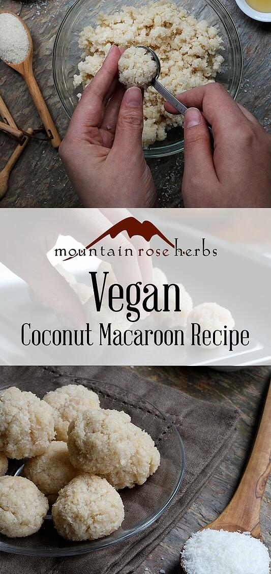Vegan coconut macaroon recipe pin from Mountain Rose Herbs