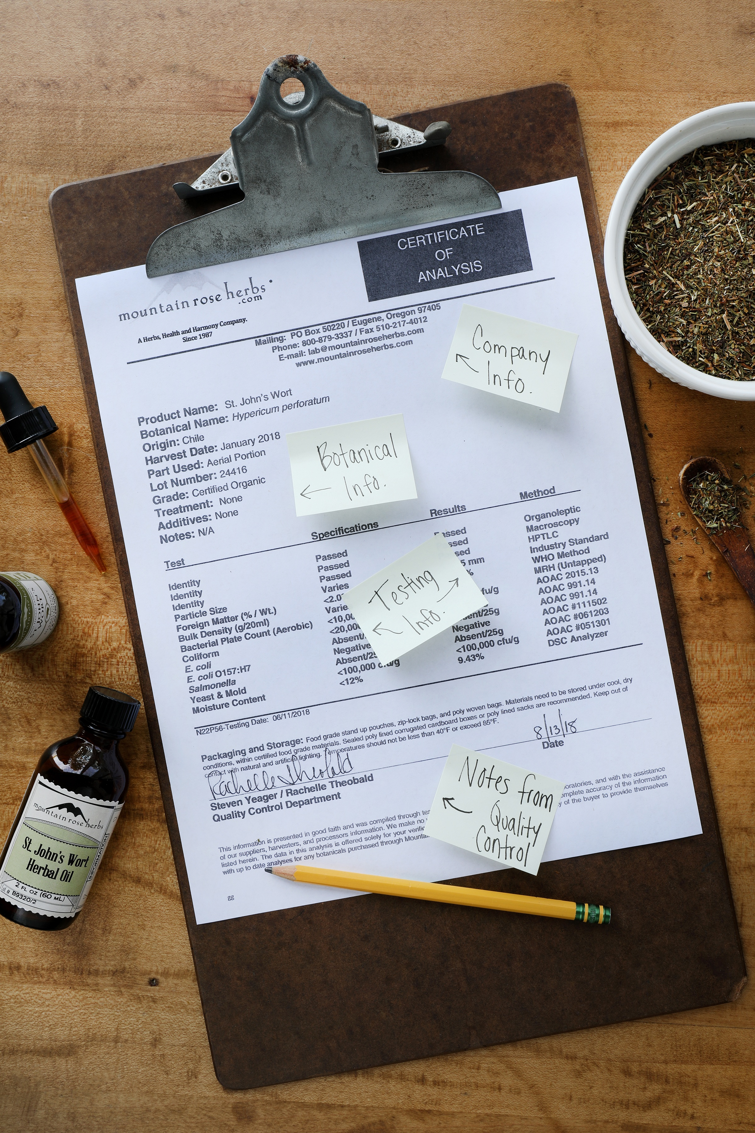 Certificate of Analysis from Mountain Rose Herbs Quality Control Lab