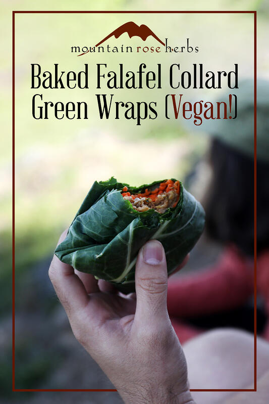 Pinterest link to Mountain Rose Herbs. Hikers enjoying a vegan collard green wrap with falafel and organic vegetables.