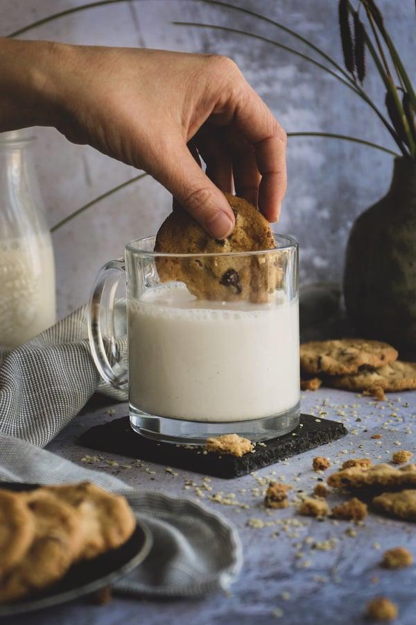 Cookies dunked in hemp milk