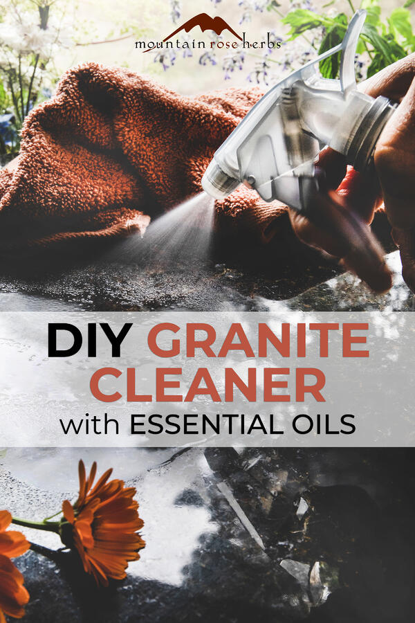 Homemade Granite and Marble Countertop Cleaner with Essential Oil Pinterest pin for Mountain Rose Herbs
