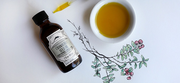 Bottle of cranberry seed oil with hand drawing of the cranberry plant and bowl of poured oil
