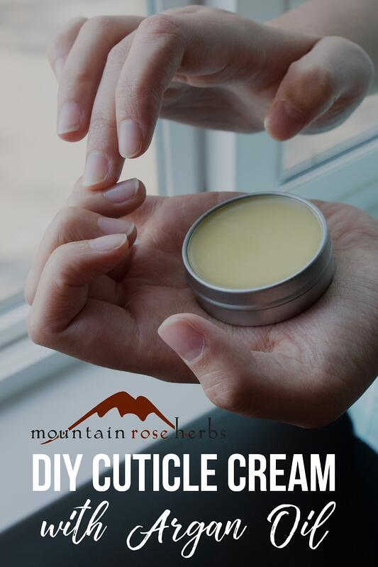 Pin for DIY cuticle cream with argan oil from Mountain Rose Herbs