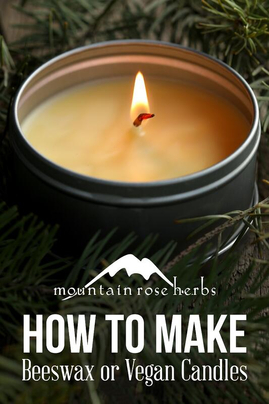 Pinterest pin for how to make beeswax or vegan candles