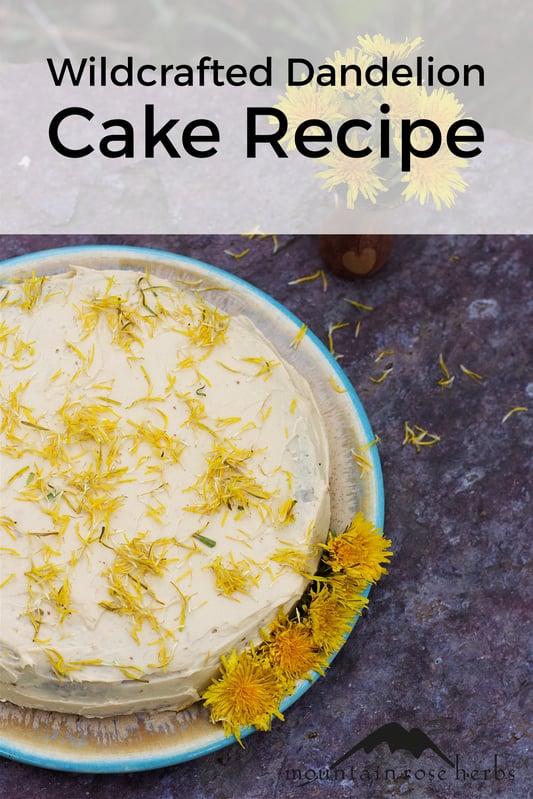Dandelion Flower Cake recipe Pinterest pin from Mountain Rose Herbs.