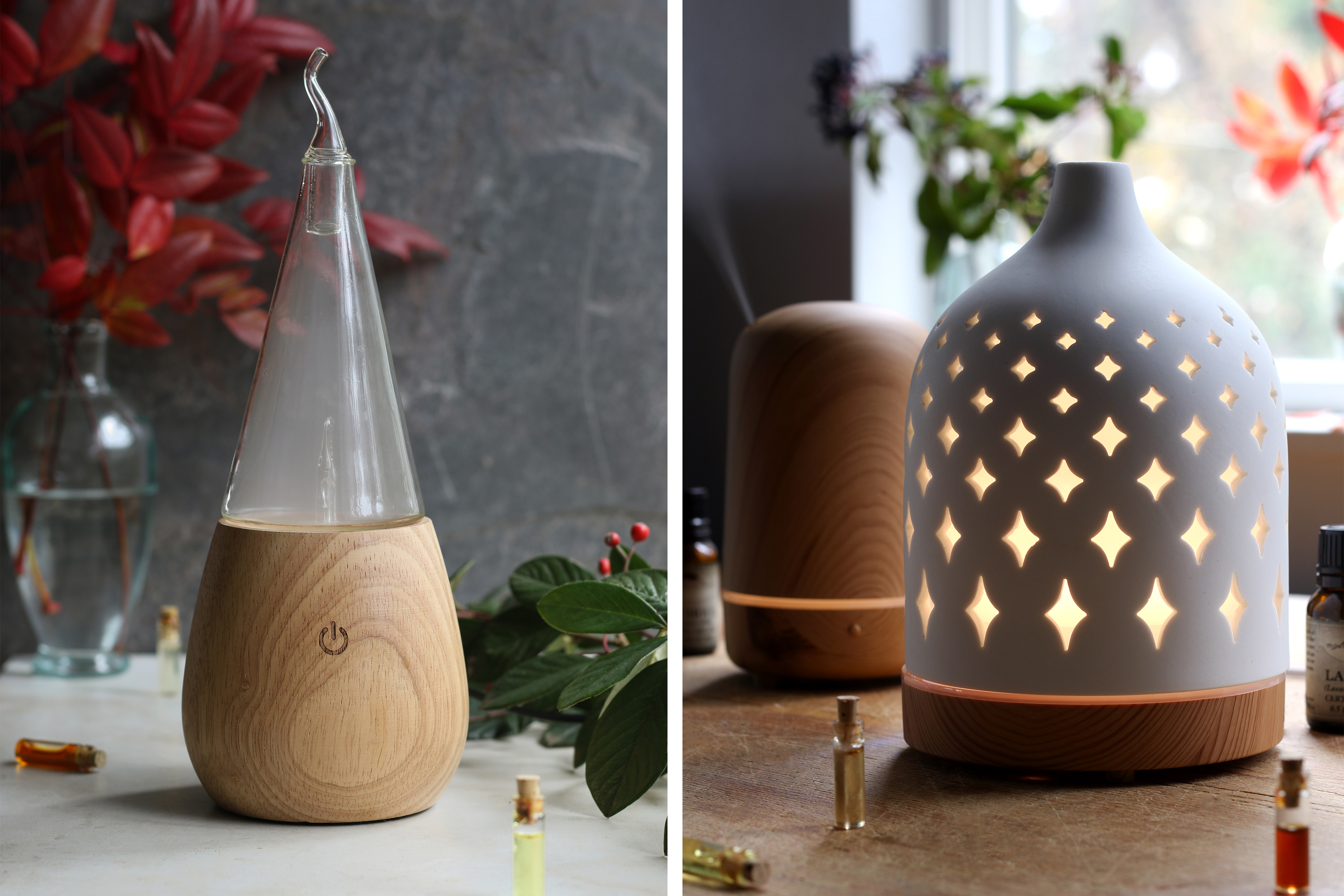 Examples of ultrasonic essential oil diffusers such as the ziba waterless diffuser and the serene house water diffusers.