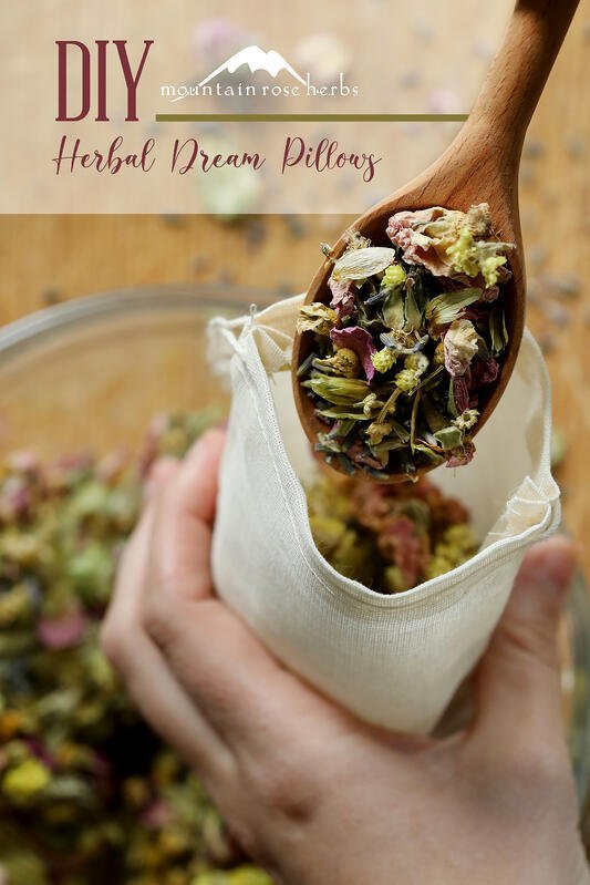 Pinterest link to Mountain Rose Herbs. Filling a cotton muslin bag with herbal ingredients for a diy dream pillow to aid in restful sleep. Hops flowers, rose buds, helichrysum and chamomile flowers lend a soothing aroma throughout the night.