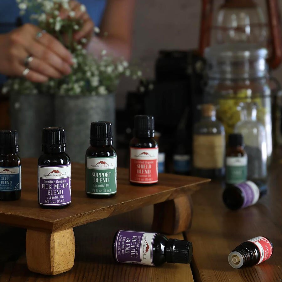 Mountain Rose Herbs supportive essential oil blends on display