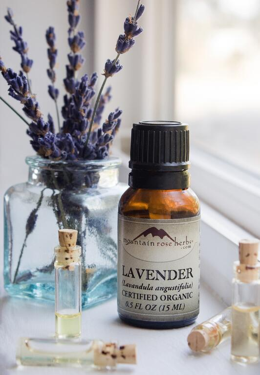 Amber bottle of organic lavender essential oil with small vials and lavender flowers in background