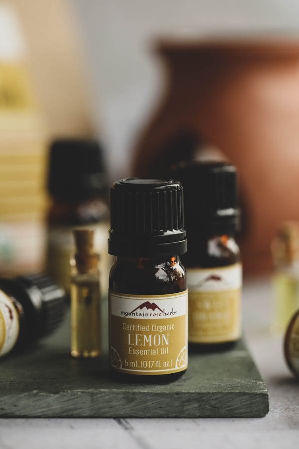 Bottles of citrus essential oil