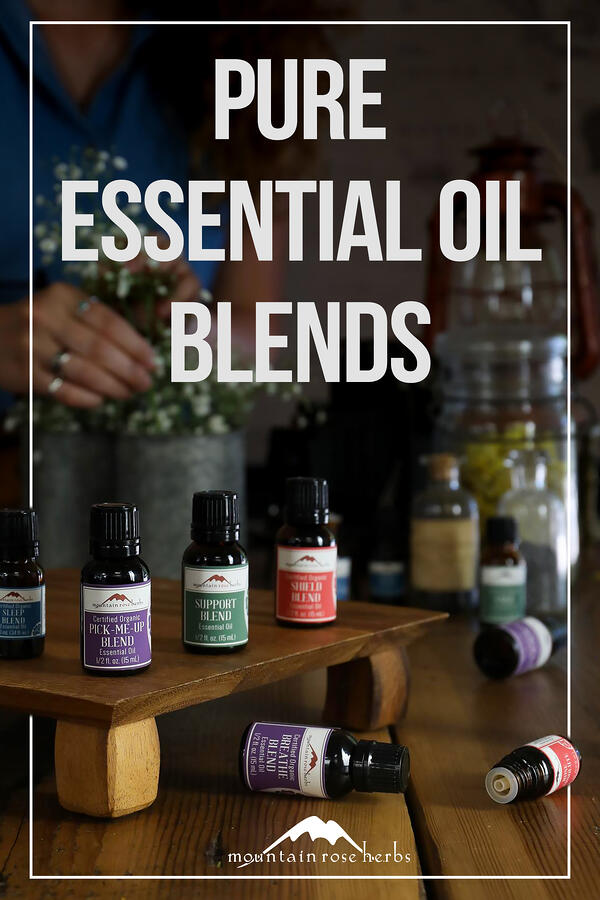 Introducing Mountain Rose Herbs' New Line of Supportive Essential Oil Blends Pinterest pin for Mountain Rose Herbs.
