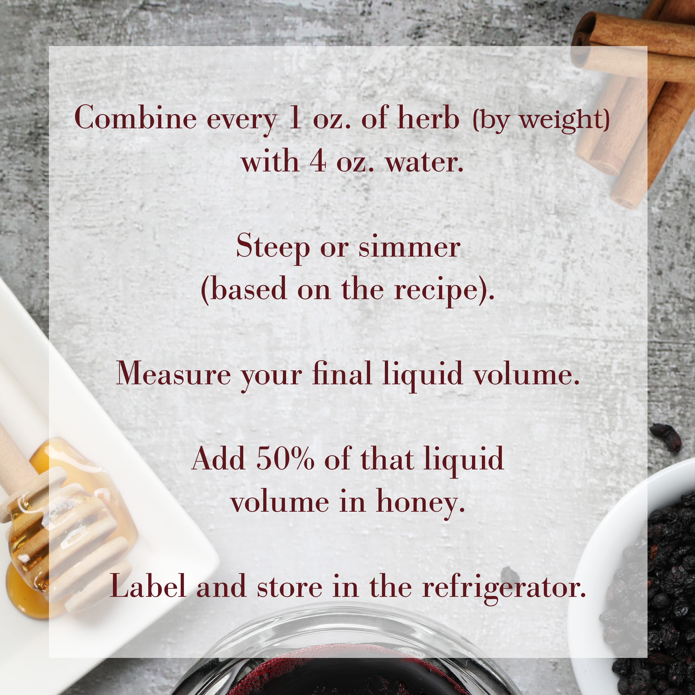 Basic herbal syrup ratio and recipe from Dr. Tieraona Low Dog