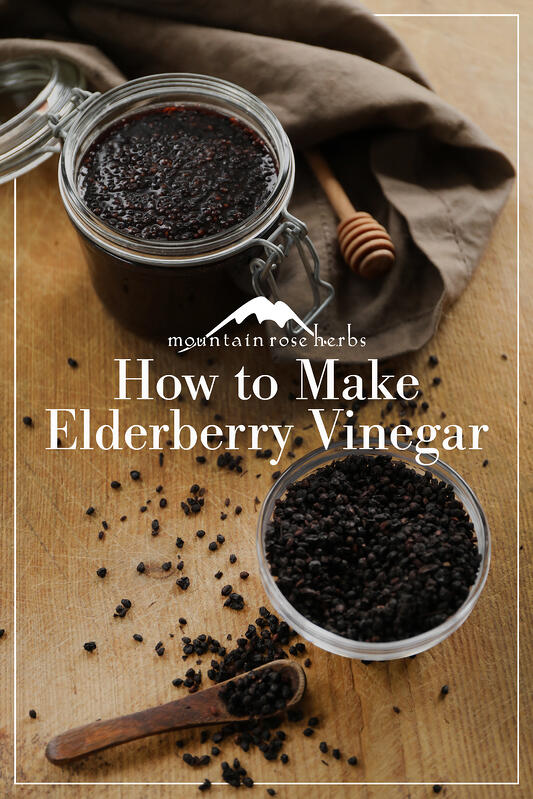DIY elderberry vinegar pin for Pinterest depicting storage jar with finished vinegar and a glass bowl filled with fresh dried elderberries.