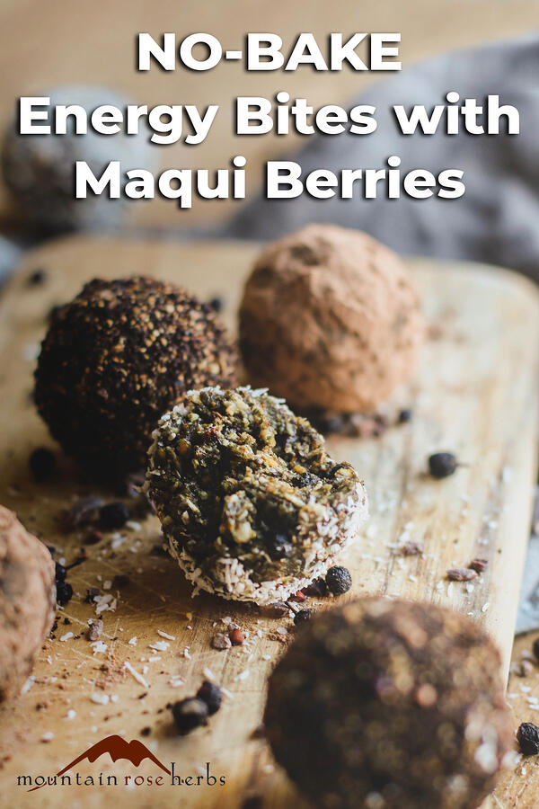 Protein & Energy Balls with Maqui Berries Pinterest pin for Mountain Rose Herbs