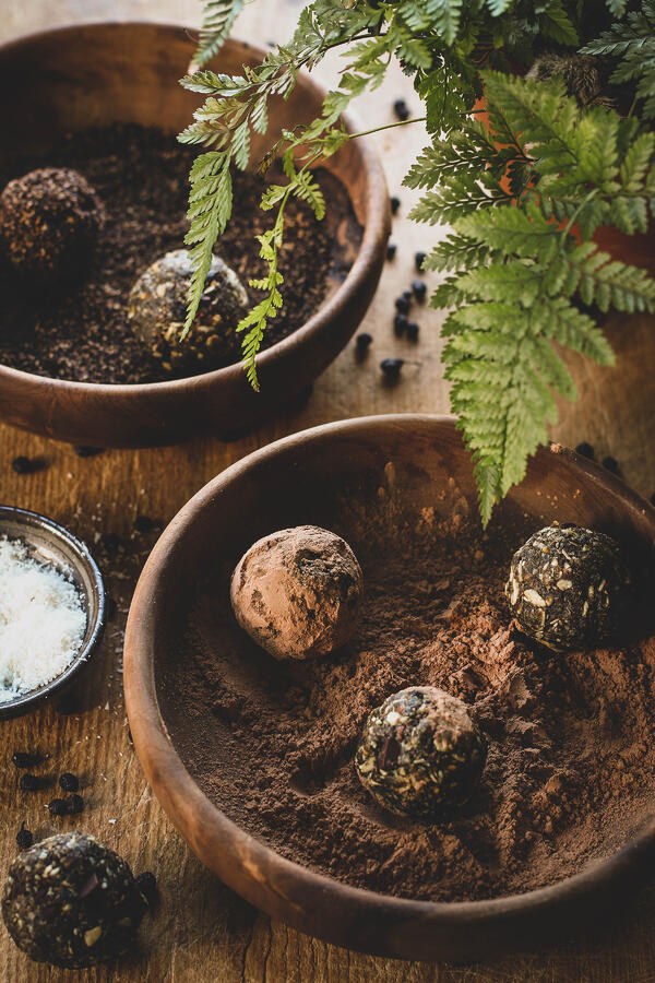 Chocolate energy bites in rustic bowls with fern plant.