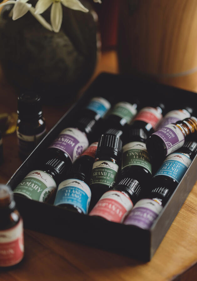 Colorful essential oil bottles