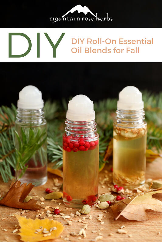 Three fall essential oil roll-on recipes include sweet and spice, forest, and a classic fall aromas to take with you!