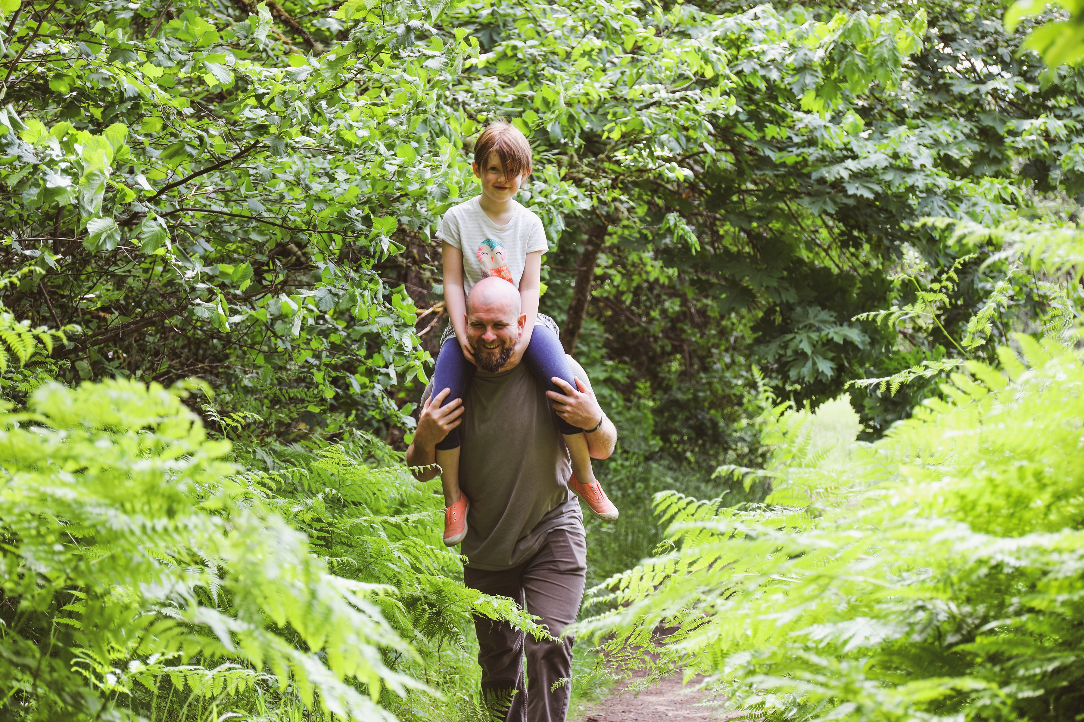 Girl sitting on father's shoulders walking through forest trails, hiking