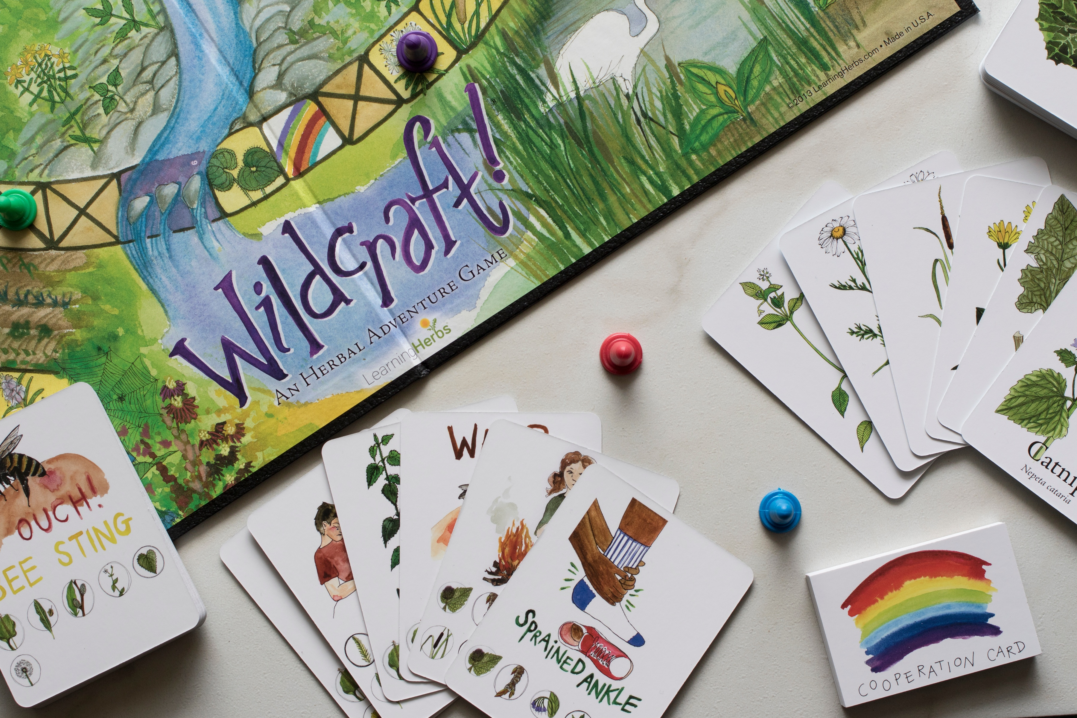 pieces and board from wildcrafting herbal board game