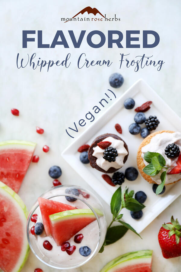 Flavored whipped coconut cream topping Pinterest pin for Mountain Rose Herbs