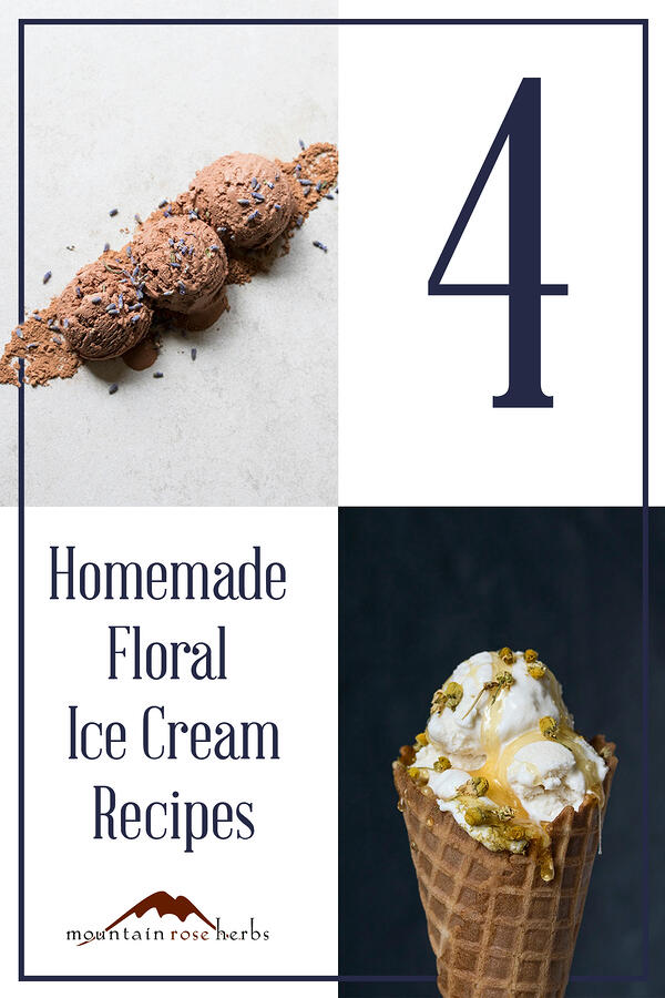 Pinterest link to Mountain Rose Herbs. Floral ice cream recipes. Chocolate ice cream with lavender flowers. Chamomile and honey syrup ice cream cone.