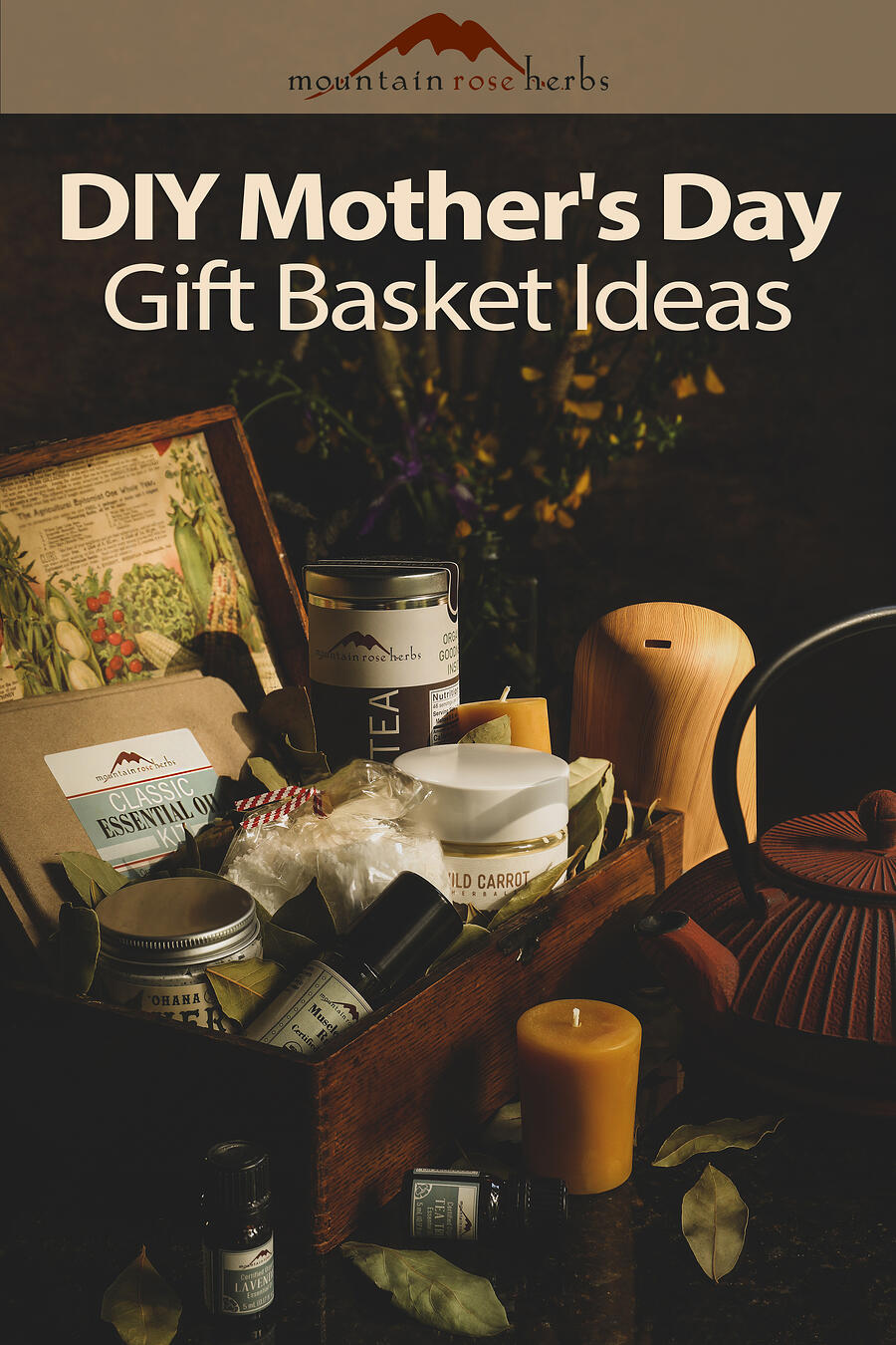 Mother's Day Self Care Gift Basket Ideas Pinterest pin for Mountain Rose Herbs