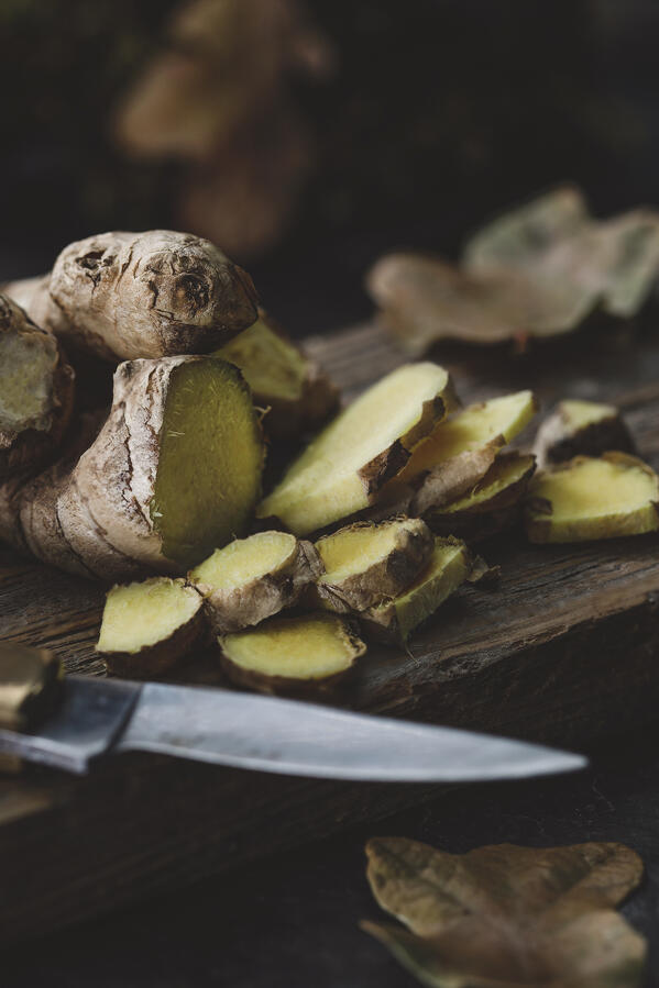 Sliced fresh ginger root.