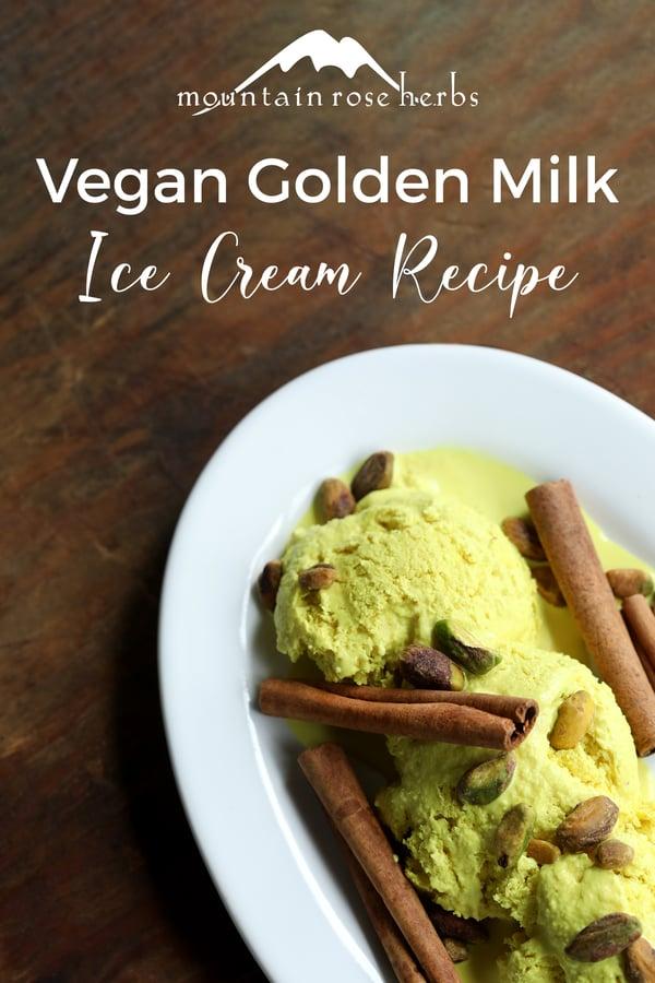 Golden Milk Ice Cream Pinterest pin from Mountain Rose Herbs