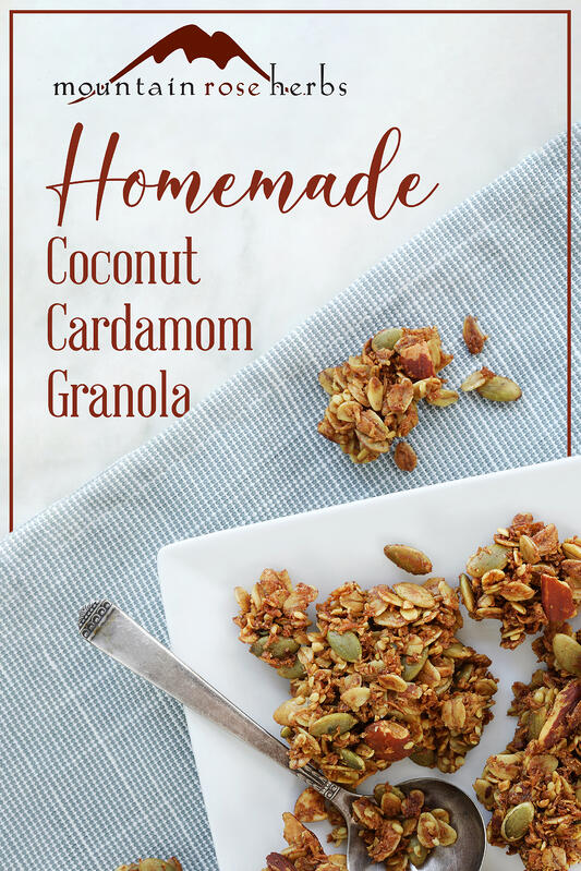 Pinterest link to Mountain Rose Herbs. A plate of homemade granola using cardamom, vanilla, and coconut. Pepitas and almonds also are featured in this tasty, easy DIY granola recipe.
