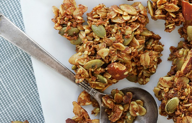 Coconut Vanilla Cardamom Granola made with organic spices and ingredients for a healthy snack at home or on the go.