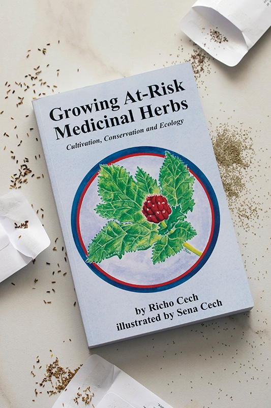 Book cover of Growing At-Risk Medicinal Herbs By Richo Cech