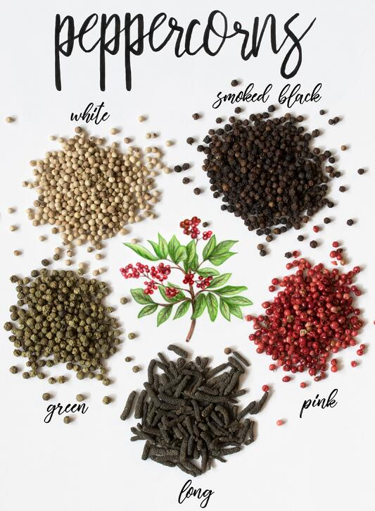 Little piles of different types of peppercorns